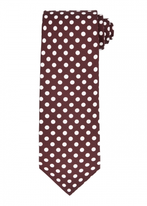 Wine and White Polka Dot Tie