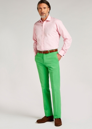 Light Green Peached Cotton Trousers