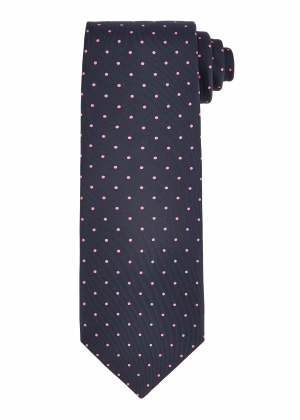 Navy and Pink Medium Spot Tie