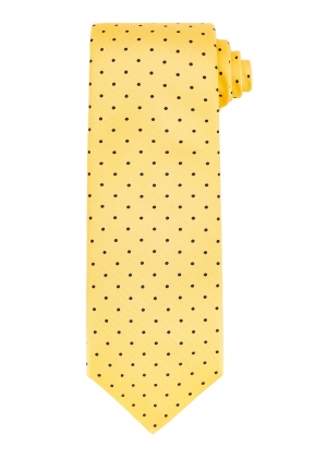 Yellow and Navy Medium Spot Tie