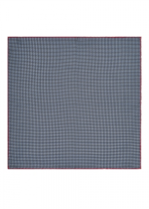 Navy Dogtooth Silk Pocket Square