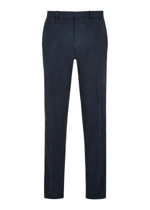 Navy Peached Cotton Trousers