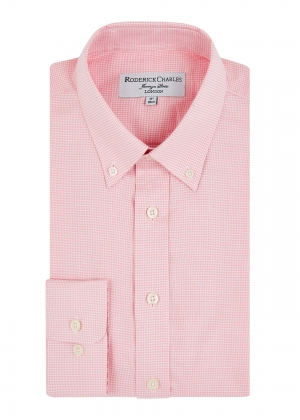 Pink Button Down Houndstooth Shirt