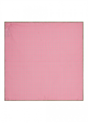 Pink Dogtooth Silk Pocket Square