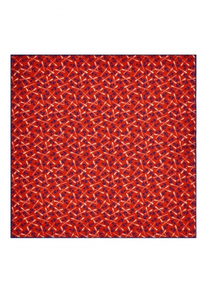 Red Anchors and Oars Silk Pocket Square