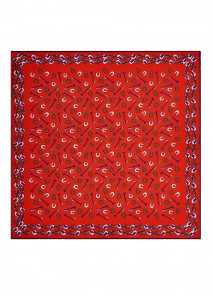 Red Stirrup Mallet Shoe Silk Pocket Square