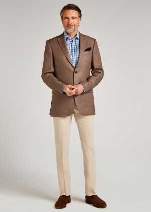Tailored Fit Dark Tan Semi Plain Jacket