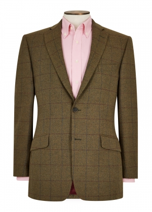 Tailored Fit Green/Burgundy/Blue Check Jacket