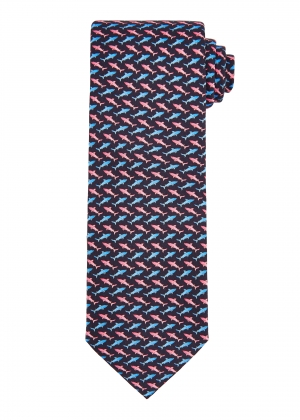 Navy and Pink Shark Tie
