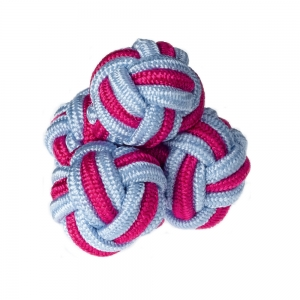 Blue/Cerise Silk Knots