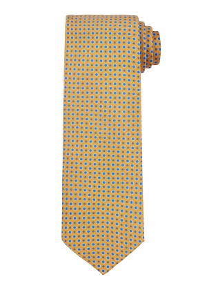Gold and Blue Spot Circle Tie