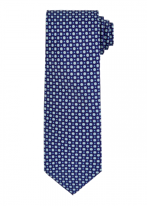 Navy and Yellow Spot Circle Tie