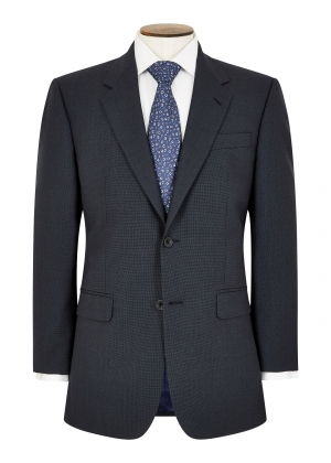 Classic Fit Blue Micro Check Suit