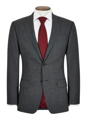 Tailored Fit Grey Micro Check Suit