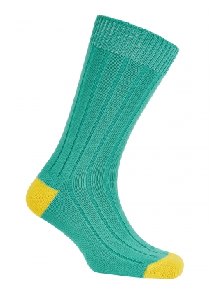 Turquoise And Jean Cotton Heel And Toe Socks