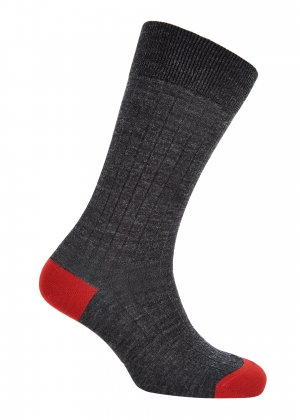 Charcoal And Red Merino Socks