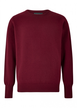 Bordeaux Lambswool Crew Neck Sweater