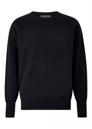Navy Lambswool Crew Neck Sweater