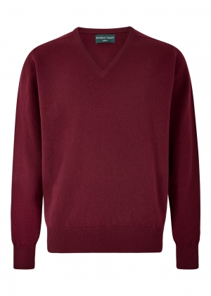 Bordeaux Lambswool V Neck Sweater