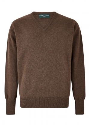 Mocha Lambswool V Neck Sweater
