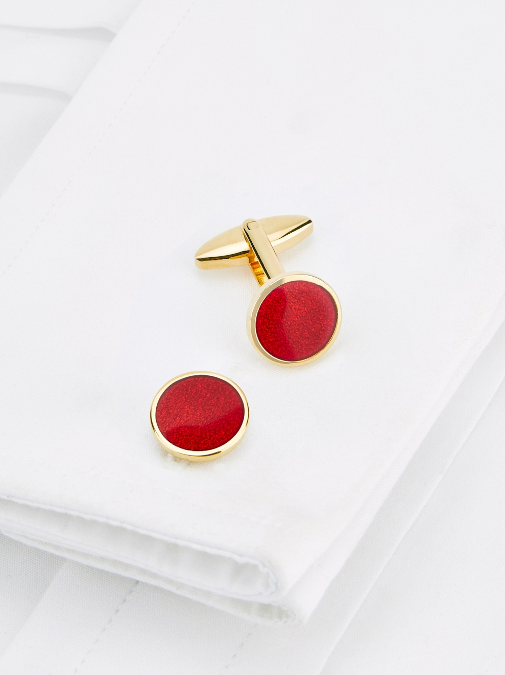 Round Gold Plated Cufflinks With Red Enamel Insert